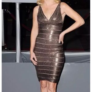 Herve Leger Mariah Sequin Dress